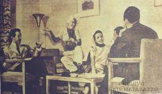 Da esquerda pra direita:  Aloísio de Oliveira, Carmen Miranda, Aurora Miranda,  Nestor Amaral e outros componentes do Bando da Lua, casa de Carmen 1946.