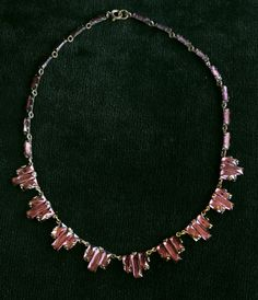 1920-30s Foiled Amethyst Glass Deco Necklace, Probably Czech