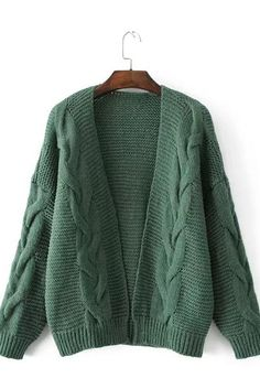 Cable Knit Solid Color Loose Open Cardigan