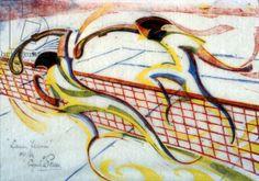 Tennis, c.1933 (linocut), Power, Cyril Edward (1874-1951) / Private Collection / Photo © Osborne Samuel Ltd, London / Bridgeman Images