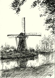 Mill nearby Haastrecht (Zuid-Holland, Netherlands) - 27-04-14 (2014), pen on paper (A5) (for sale / te koop) see me on: www.corneakkers.com #arts #kunst #Corné #Corne #Akkers #藝術 #アート #искусство #فن  #seni
