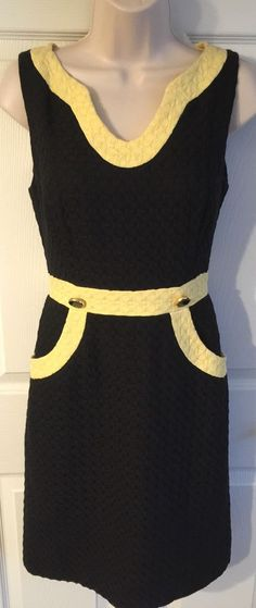 Milly of New York Dress Size 2 Black Yellow Textured Cotton Contrast Trim Career | eBay