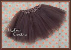 Girls Chocolate Brown Tutu Skirt Birthday by LillyBearCreations