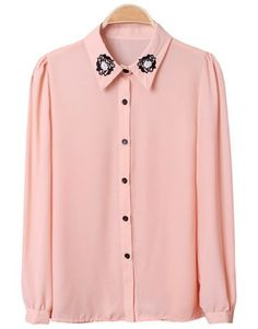 Indressme | Embriodery vintage chiffon shirt style 344201 only $29.68 .