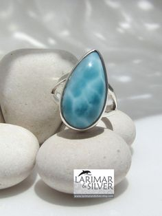 Larimar ring - Larimar is a very rare stone known for its healing properties. From the seas of the Dominican Republic.