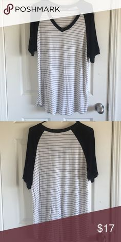 BRANDY MELVILLE SHIRT. Brandy Melville annette baseball t-shirt dress. striped short sleeved t-shirt with black sleeves. Long enough to be a dress. Worn a couple times. In good condition. No rips, stains, or tears. Brandy Melville Tops