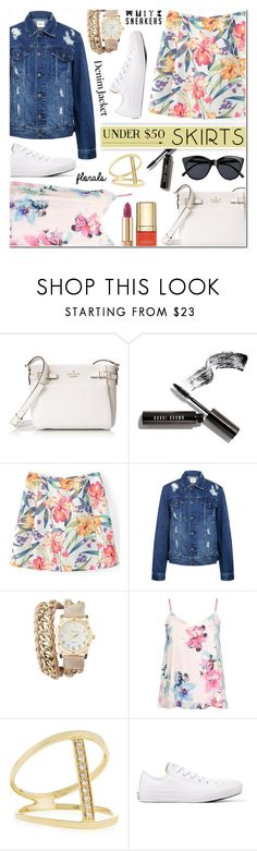 """Skirts Under $50 - Denim jacket+floral skirt+sneakers"" by anyasdesigns ❤ liked on Polyvore featuring Kate Spade, Bobbi Brown Cosmetics, Edit, Charlotte Russe, Dorothy Perkins, Sydney Evan, Converse, Dolce&Gabbana, Le Specs and under50"