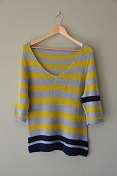 Ravelry: on the beach pattern by Isabell Kraemer FREE - simple & elegant striped V-neck sweater