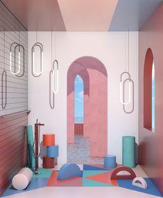 The Stylish Interior Renderings of Ana de Santos – Trendland Online Magazine Curating the Web since 2006 3d Interior Design, Interior Rendering, 3d Design, Interior Architecture, House Design, Location Studio, Spanish Interior, Deco Studio, Mexican Designs