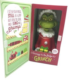 Hallmark 2013 GRINCH Dr Suess Grumpy In The Fridge Motion Activated NEW in BOX #Hallmark