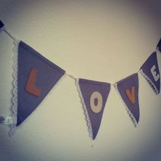 Felt bunting with lace trim. To order visit www.for-example.co.za