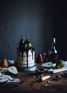 Pear cardamom cake with brown butter frosting and chocolate glaze