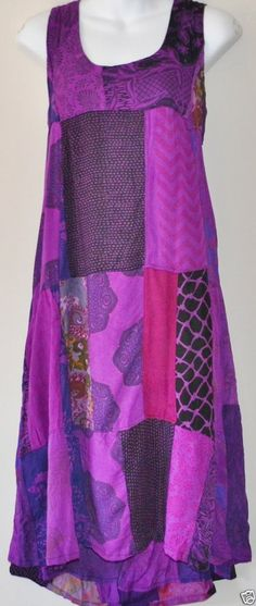BOHO HIPPY CHIC SALE Ladies Patchwork Bohemian Gypsy Dress Skirt Purple 8-16