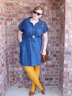 DIY FATSHION www.diyfatshion.com  ootd, fatshion, polkadots, chambray, yellow, brown, colored tights