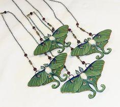 luna moth art | Luna Moth Necklace high detail wearable art 18k ... | Fashion cravin ...