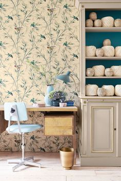 Great Ormond St by Little Greene - Tropical - Wallpaper : Wallpaper Direct Tropical Wallpaper, Bird Wallpaper, Room Wallpaper, Print Wallpaper, Wallpaper Ideas, Classic Wallpaper, Luxury Wallpaper, Little Greene Paint, Under Stairs Cupboard