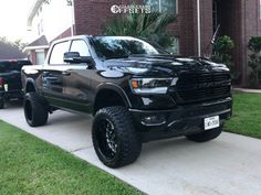 This 2019 Ram 1500 is running TIS Forged wheels Fury Offroad Country Hunter Mt tires with Rough Country Suspension Lift suspension. Dodge Trucks Lifted, Custom Lifted Trucks, Ram Trucks, Diesel Trucks, Pickup Trucks, Dodge Cummins, Chevrolet Silverado, 1957 Chevrolet, Chevrolet Trucks