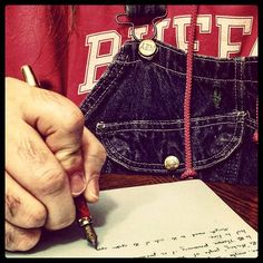 Nightly longhand #amwriting #writersofinstagram #writerinoveralls #longhand #fountainpen #overalls #vintage #Key #bluedenim #dungarees #biboveralls