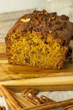 Pumpkin pecan bread is a simple and delicious, sweet pumpkin bread. The pecans add a tasty crunch to every bite. #pumpkin #pumpkinrecipes #pumpkinbread Best Pumpkin, Pumpkin Bread, Pumpkin Spice, Sweet Bread, Pumpkin Recipes, Banana Bread, Blueberry, Tasty, Pecans