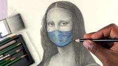 How To Draw MONA LISA Step by Step With Mask On (Part 4)