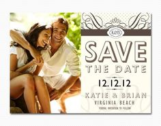 Photo Save The Date Card or Magnet Vintage Classy Wedding. $15.00, via Etsy.
