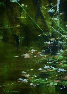Ambiance d étang - peinture au pastel sec par Isabelle Douzamy 40/50 cm (encadré) oeuvre unique - www.douzamy.com Portraits, Isabelle, Les Oeuvres, Matignon, Northern Lights, Pastel, Nature, Painting, Travel