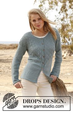 """Knitted DROPS jacket with lace pattern and round yoke in """"BabyAlpaca Silk"""". Size: S - XXXL. ~ DROPS Design"""