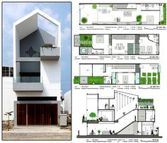 House architecture cube architects 37 Ideas for 2019 Narrow House Plans, Modern House Plans, Small House Design, Modern House Design, Townhouse Designs, House Elevation, Facade Design, Facade House, Architecture Plan