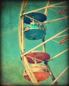 Ferris wheel  photography carnival county fair amusement park vintage green pink  - 'Spin'  8 x 10