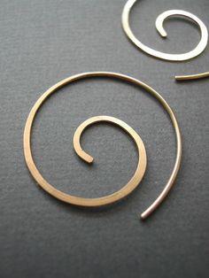 Gold Spiral Hoopssmall by maryandjane on Etsy