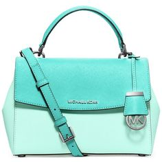 Michael Michael Kors Ava Colorblock Small Top Handle Satchel (€245) ❤ liked on Polyvore featuring bags, handbags, leather purse, colorblock handbags, satchel purse, blue leather handbags and satchel handbags