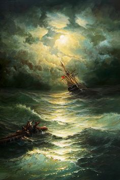 Chest piece idea - ship in the distance. Ship Paintings, Seascape Paintings, Wave Boat, Sea Storm, Old Sailing Ships, Ship Drawing, Sea Waves, Fantasy Landscape, Tall Ships