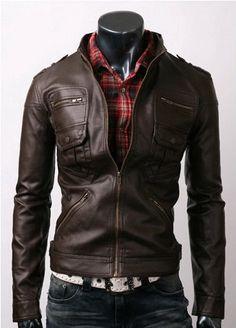 Men slim fit leather jacket,men jac | Men's leather, Fit and Nice