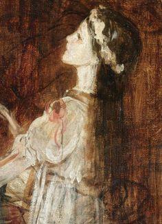 """Νικόλαος Γύζης (Nikolaos Gyzis), """"Young Girl Kneeling on a Chair"""", detail.  I love how sweet her face is."""