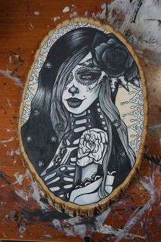 Day of the Dead Tattoo art Original Oil Painting by Pajamasquid, $350.00
