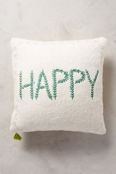 Merry Sentiments Pillow #anthropologie