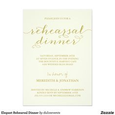 Elegant Rehearsal Dinner 5x7 Paper Invitation Card from another Zazzle designer
