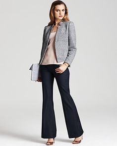 Calvin Klein Tweed Notch Collar Jacket