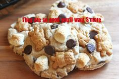 S'more cookies made with Teddy Grahams - I forgot how good Teddy Grahams are! So cute here too!