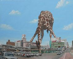 Imaginative Illustrations of Giant Animals Invading Cities by Shuichi Nakano Giant Giraffe, Giant Animals, Paradise Painting, Japon Tokyo, Whiskers On Kittens, Digital Museum, Montage Photo, Weird Art, Illustrations