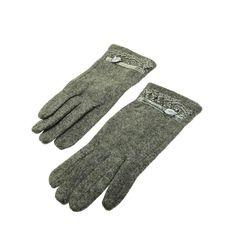 Grey Flower Lace Gloves - Wool Blend Velvet Floral Lace