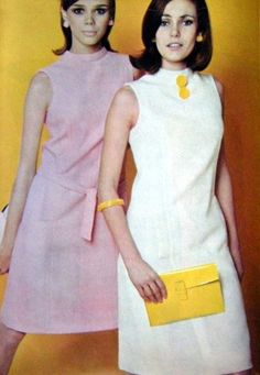 ELLE 1966 mid 60s shift dress white yellow pink day wear mod look knee length sleeveless color photo print ad models magazine