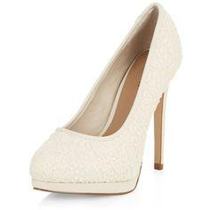 Cream Crochet Platform Heels ($19) ❤ liked on Polyvore