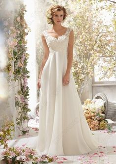 White/Ivory Lace Chiffon Bridal Gown Wedding Dress Custom  4-6-8-10-12-14-16-18+