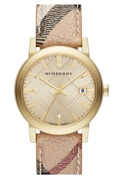 Burberry Large Check Strap Watch, 38mm | Nordstrom