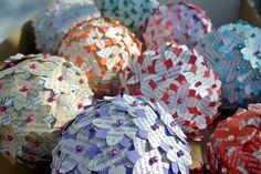 Old magazine paper flower sphere (full tutorial on our website)