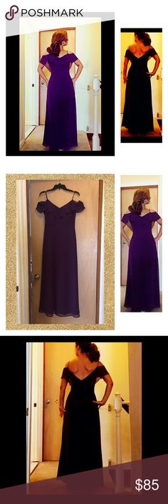 """🍸Bari Jay Backless Cascading Chiffon Dress 💫 Beautiful 3 layer Bari Jay chiffon dress. Features cascading sheer back and sleeve caps.  Includes fitted straps. Size is an 8 but I had it altered to fit me (I wear a size 4-6, & in this dress I wore 4.5"""" in heels).  Measures 54.5"""" length, 14"""" waist, 32"""" bust.  Plenty of room.  Bust line boosts up (not build in cups but dress is designed with extra reinforcement below bust).  Makes you look and feel great!  Perfect for any special occasion…"""