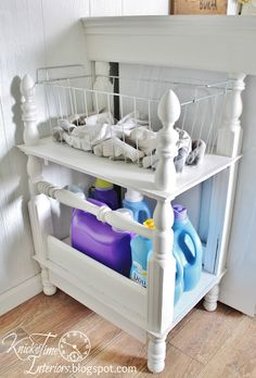 Love this up-cycled shelf made from a bed footboard ~ from Knick of Time: Laundry Room Reveal
