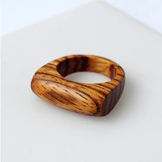 Zebrano wood ring- Size 7 US, Wood ring, Wood jewelry, Wooden jewelry, Signet…