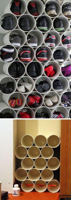 Pvc pipe shoe storage 22 easy shoe organization ideas for the home. Diy Shoe Storage, Diy Shoe Rack, Closet Storage, Bedroom Storage, Diy Bedroom, Shoe Storage Ideas For Small Spaces, Craft Storage, Shoe Storage For Small Closet, Garage Storage